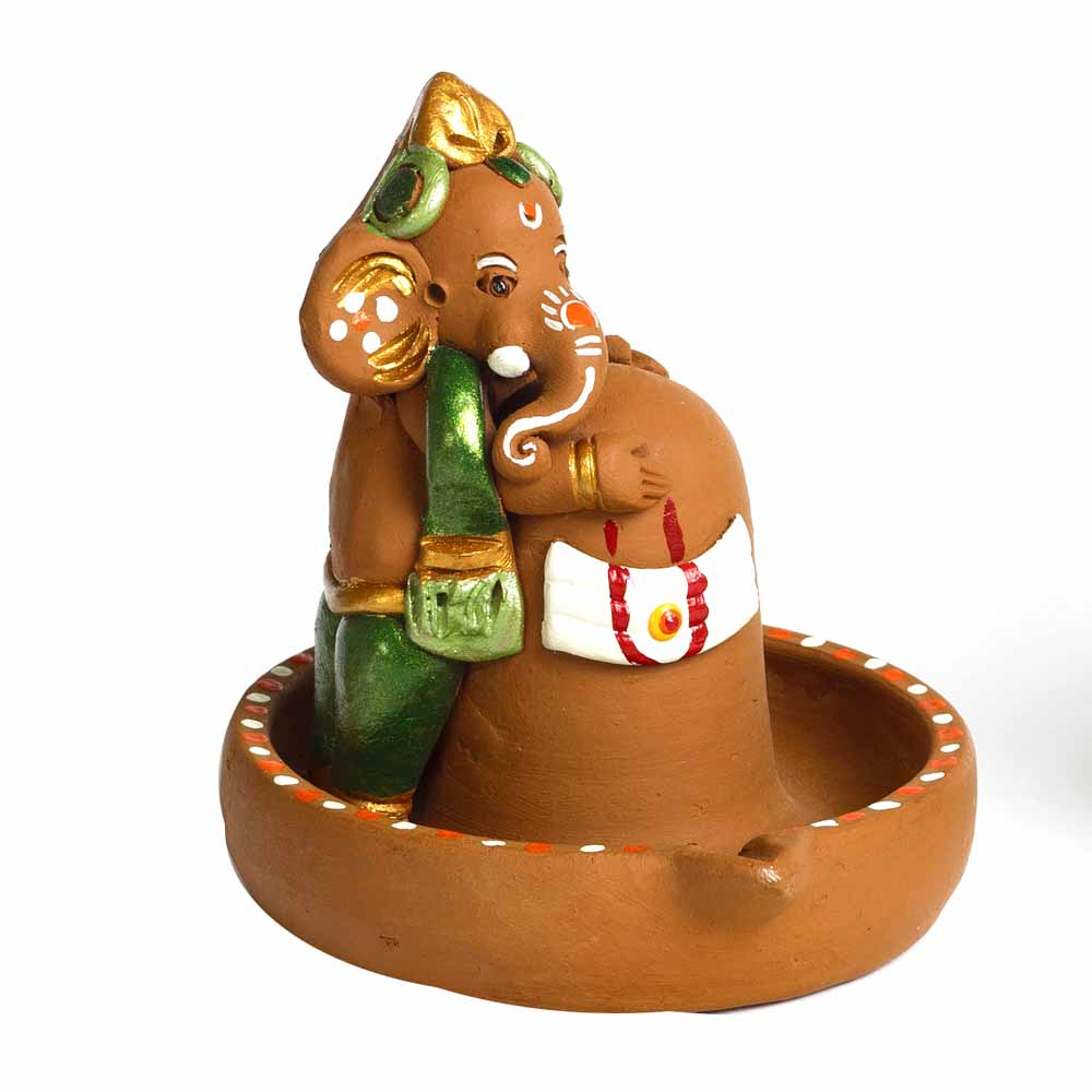 Terracotta-Brown & Green Terracotta Linga Ganesh Showpiece