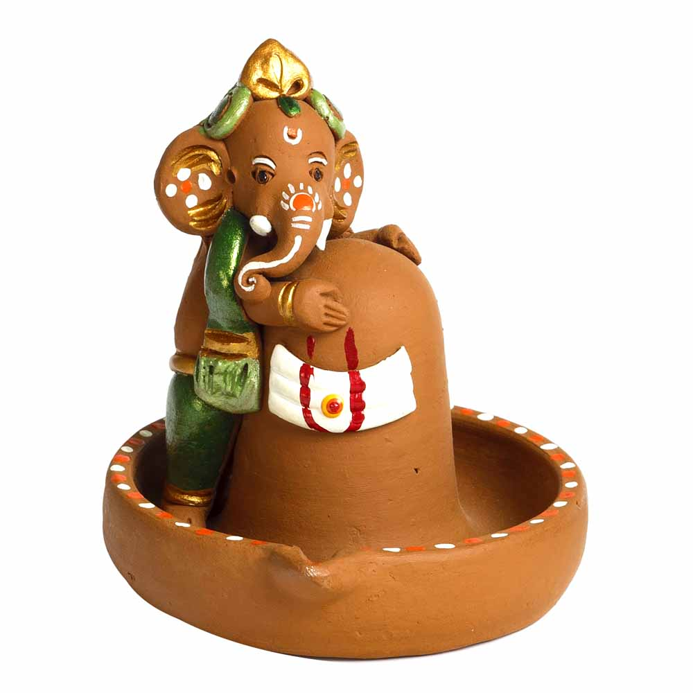 Brown & Green Terracotta Linga Ganesh Showpiece