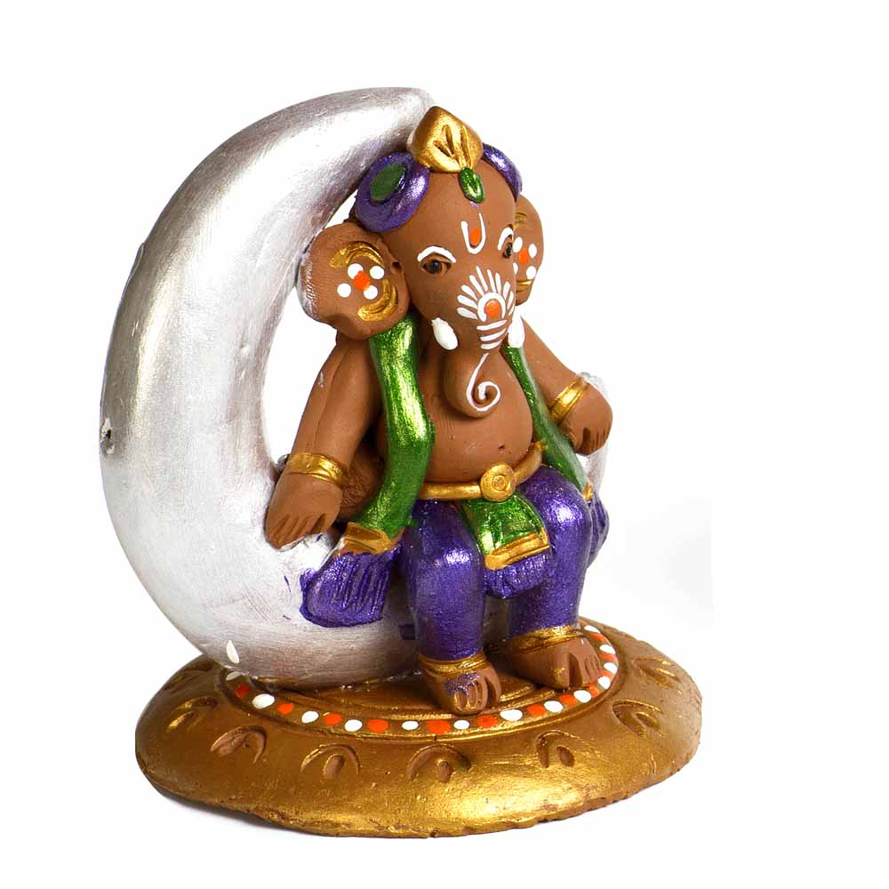 Terracotta-Multicolor Terracotta Ganesh Sitting on Moon Showpiece