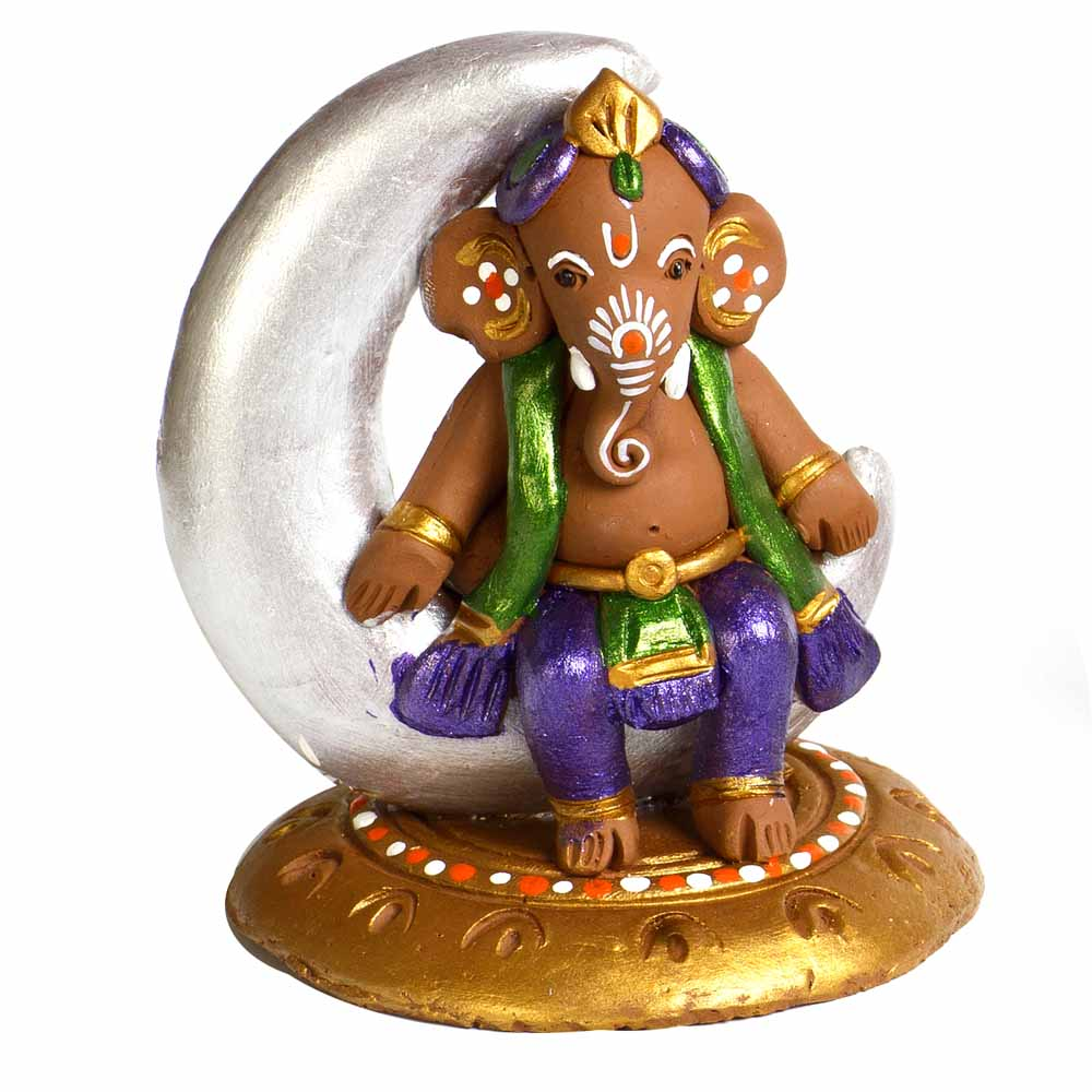 Multicolor Terracotta Ganesh Sitting on Moon Showpiece
