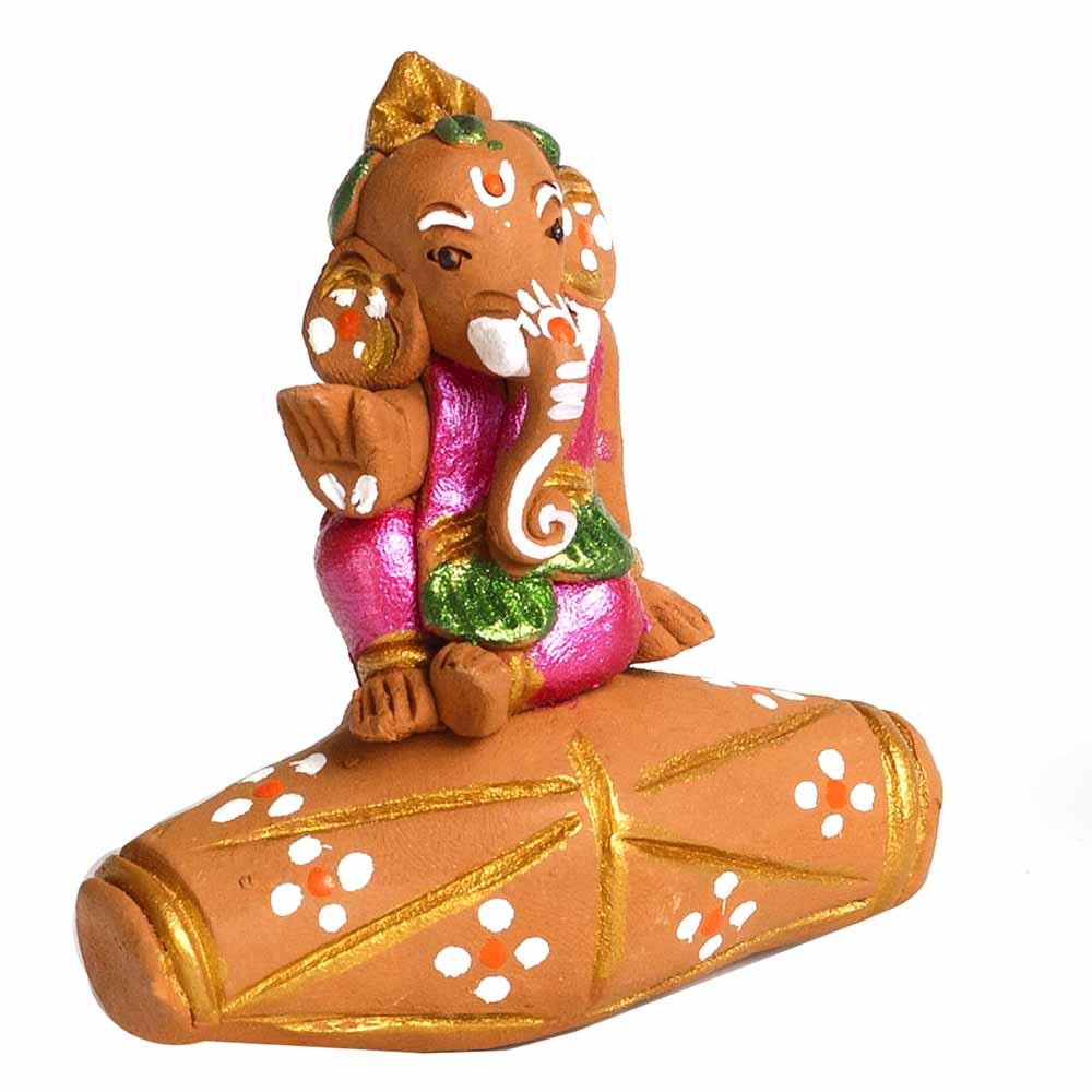 Terracotta-Multicolor Terracotta Ganesh sitting on Dholak Showpiece