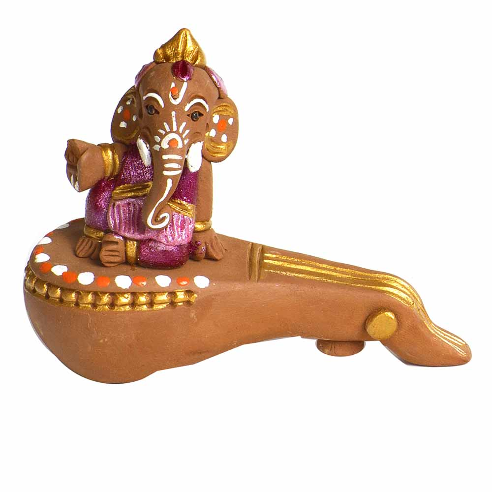 Brown & Pink Terracotta Ganesh sitting on sitar Showpiece