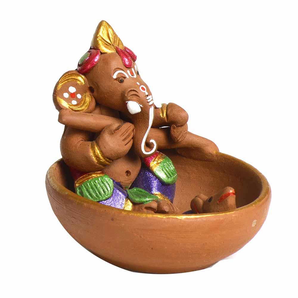 Terracotta-Multicolor Terracotta Ganesh Small Boat Showpiece