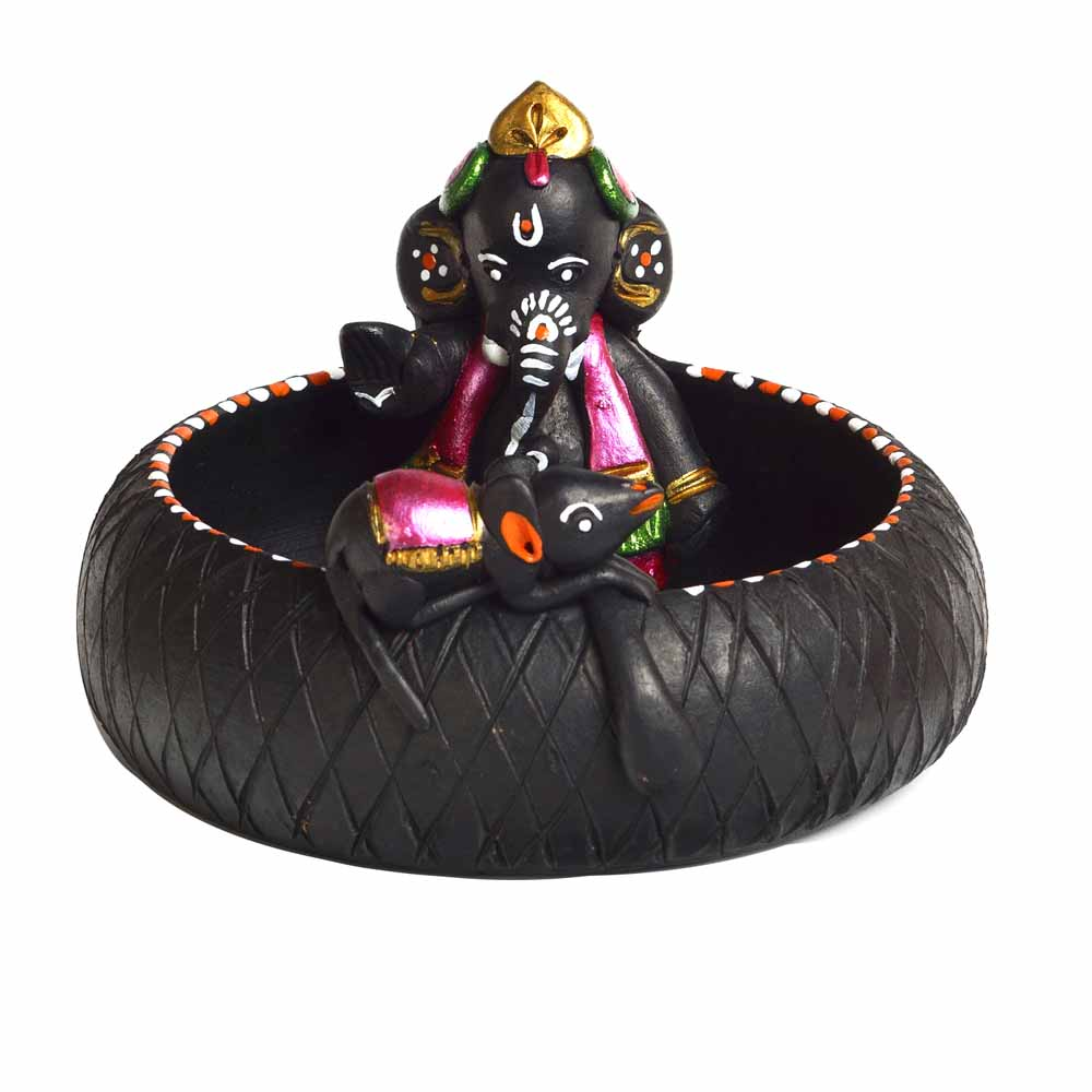 Black & Pink Terracotta Ganesh Showpiece with Black Finish