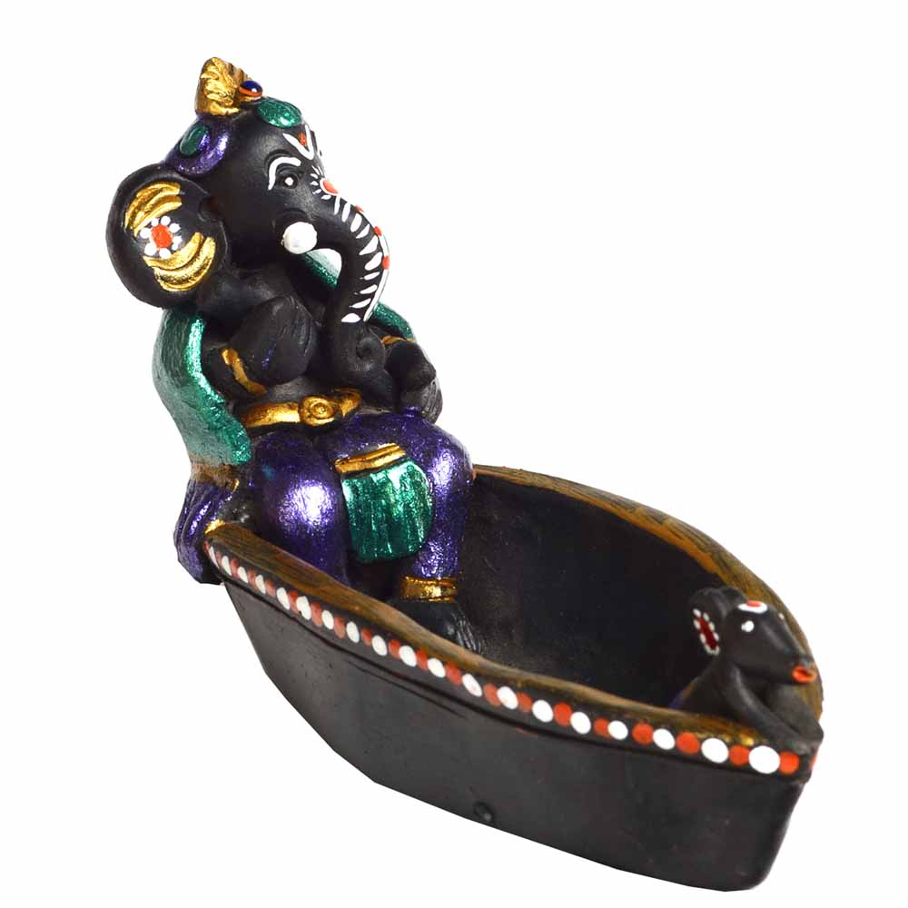 Terracotta-Multicolor Terracotta Ganesh in Long Boat Showpiece