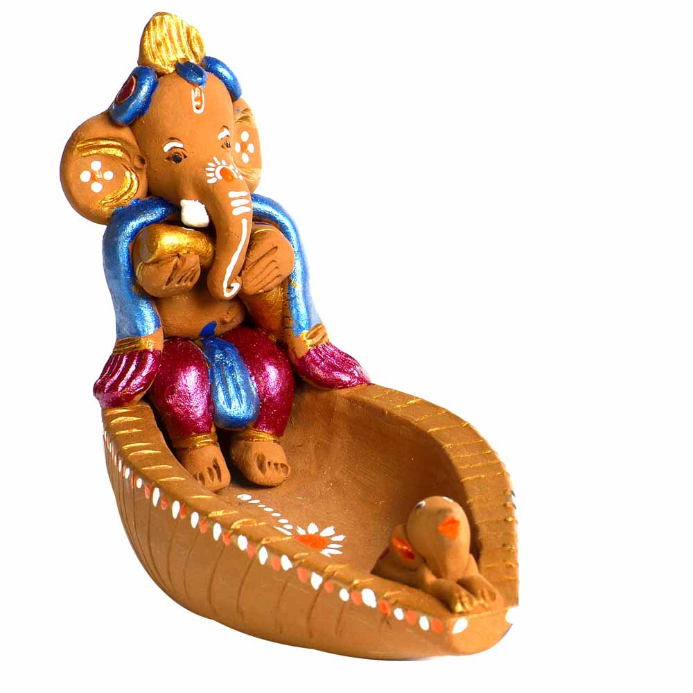 Multicolor Terracotta Ganesh in Boat Showpiece