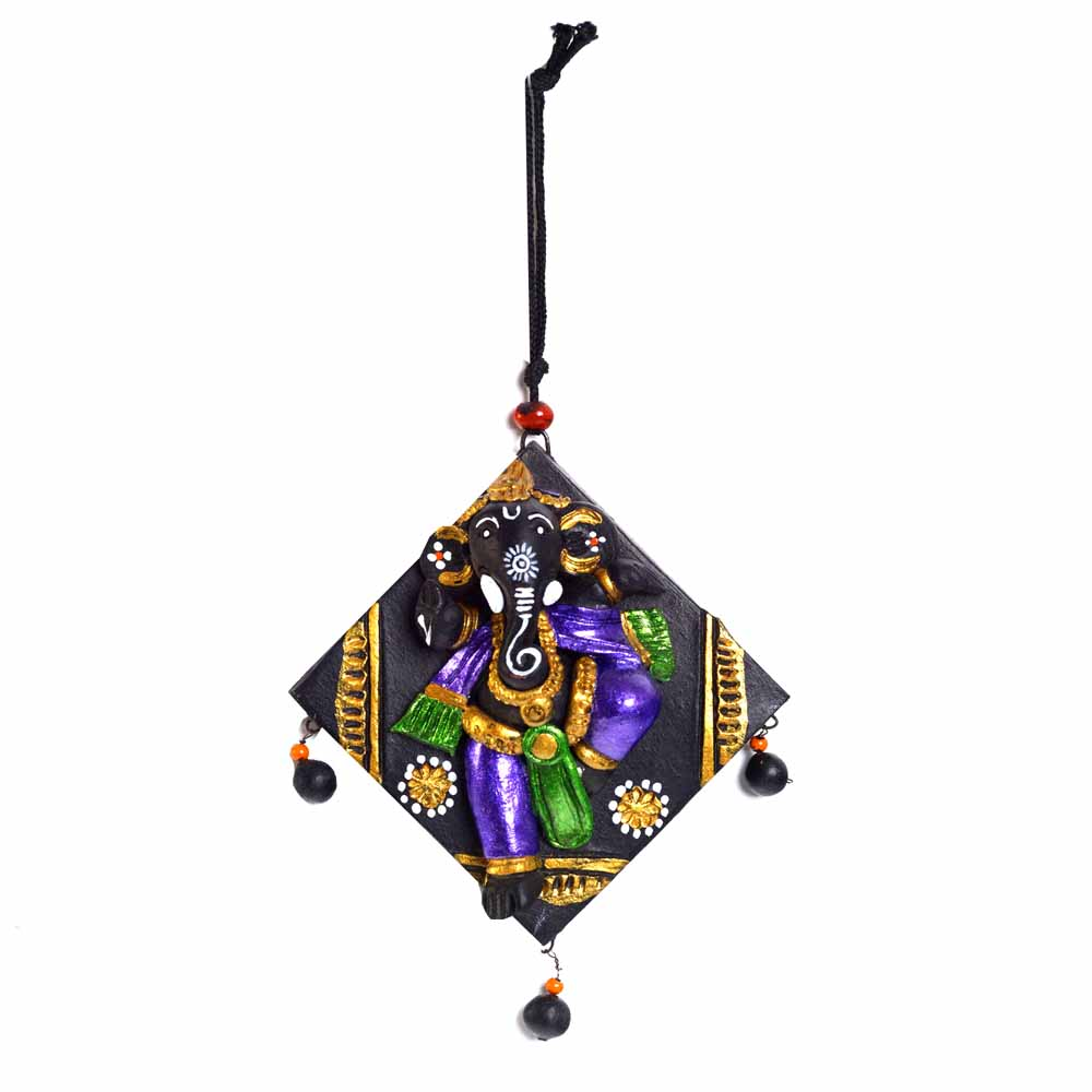Wall Hanging-Multicolor Terracotta Square Wall Plate Showpiece