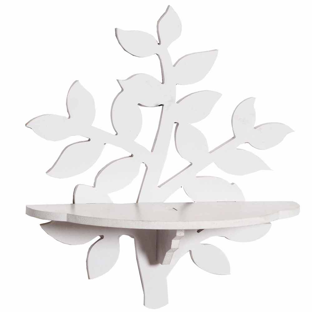 Wall Shelves-Tree Style Elegant White Wall Shelf
