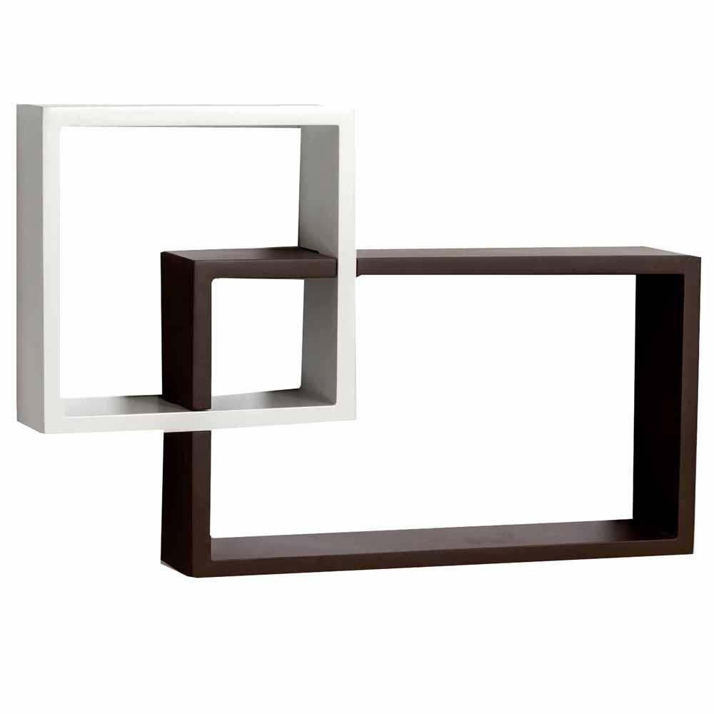Wall Shelves-Square & Rectangular Brown White Wall Shelf