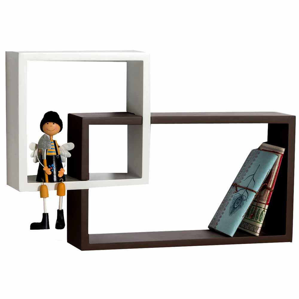 Square & Rectangular Brown White Wall Shelf