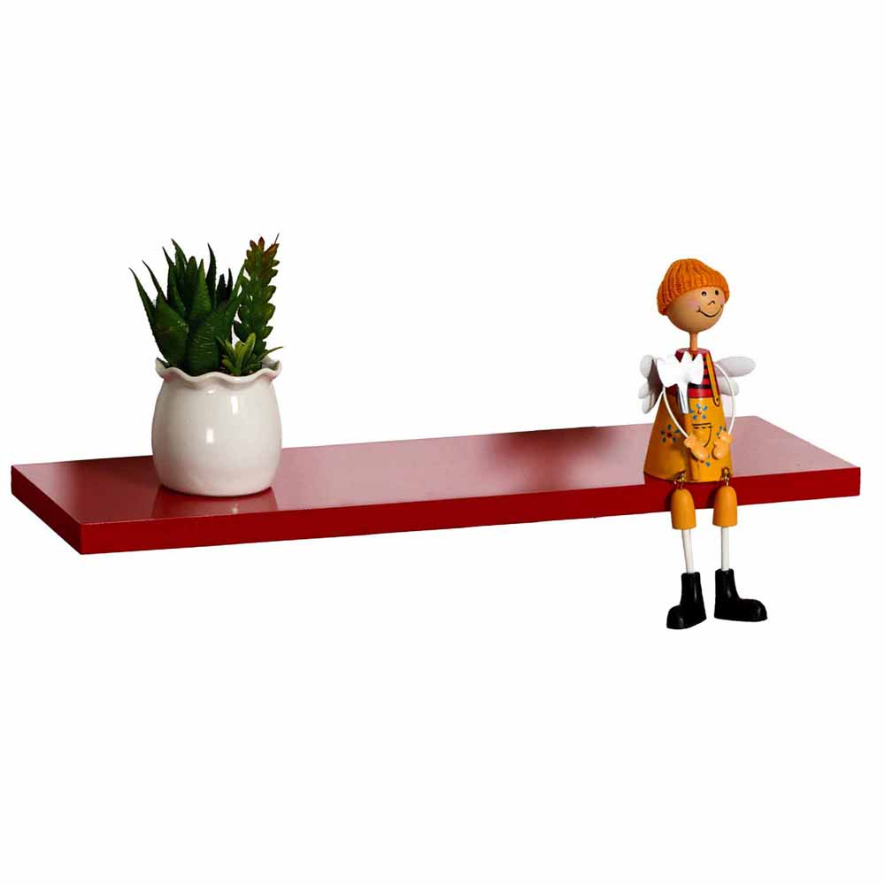 Charming Red MDF Wall Shelf