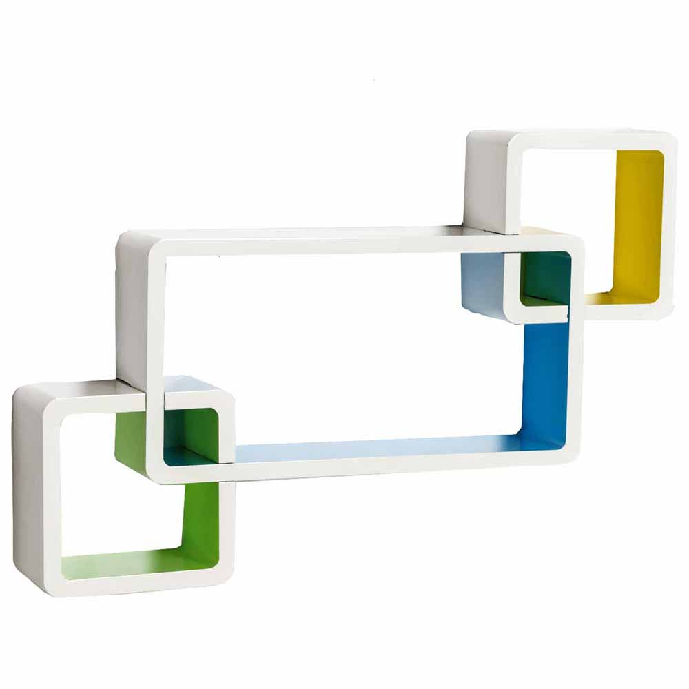 Wall Shelves-Multicolor Box Shape Wall Shelves