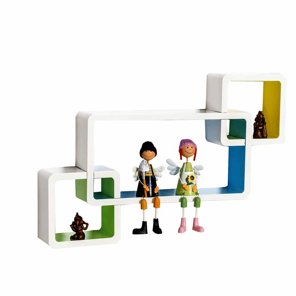 Multicolor Box Shape Wall Shelves