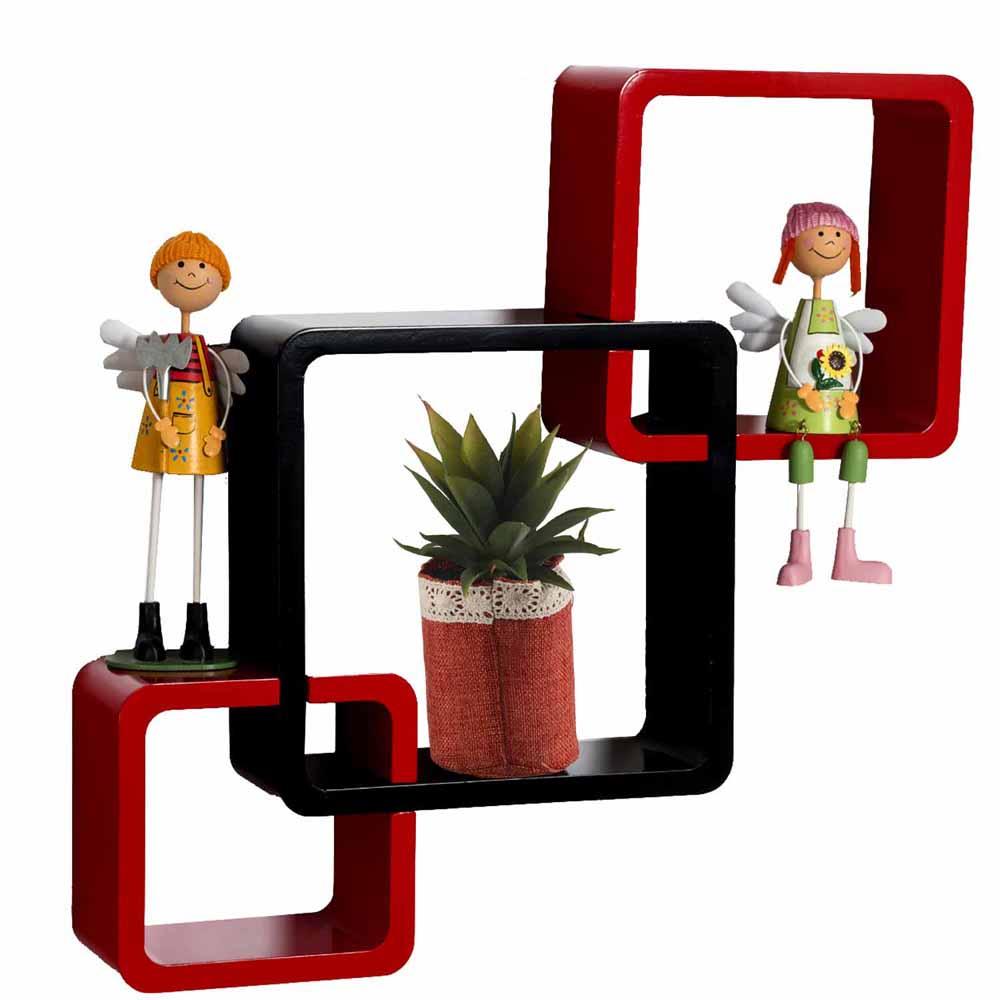 Wall Shelves-Red & Brown Elegant Box Shape Wall Shelves