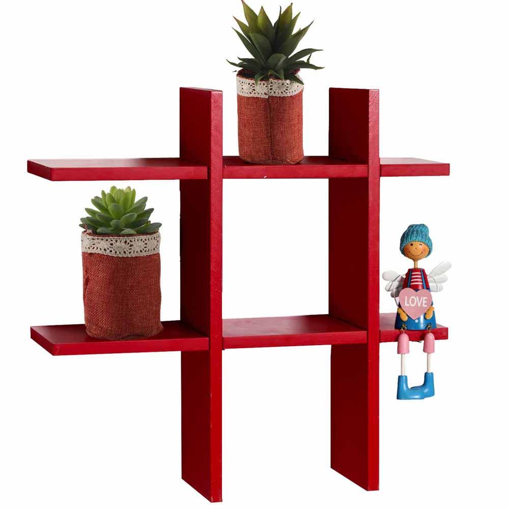 Wall Shelves-Fantastic Red Tic Tac Shape Wall Shelves