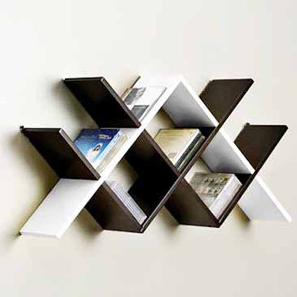 Wall Shelves-Chevron Style Brown & White Wall Shelves