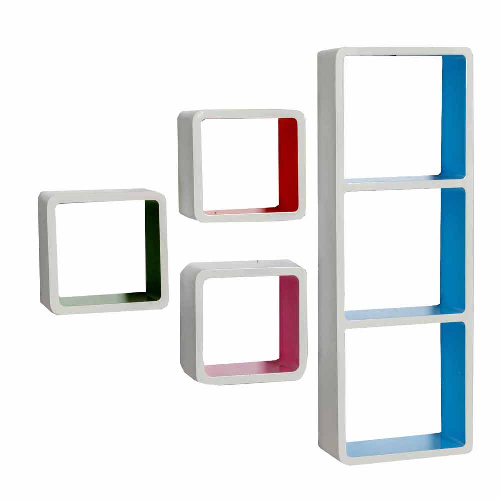 Wall Shelves-Multicolor Square Box Shape Wall Shelves