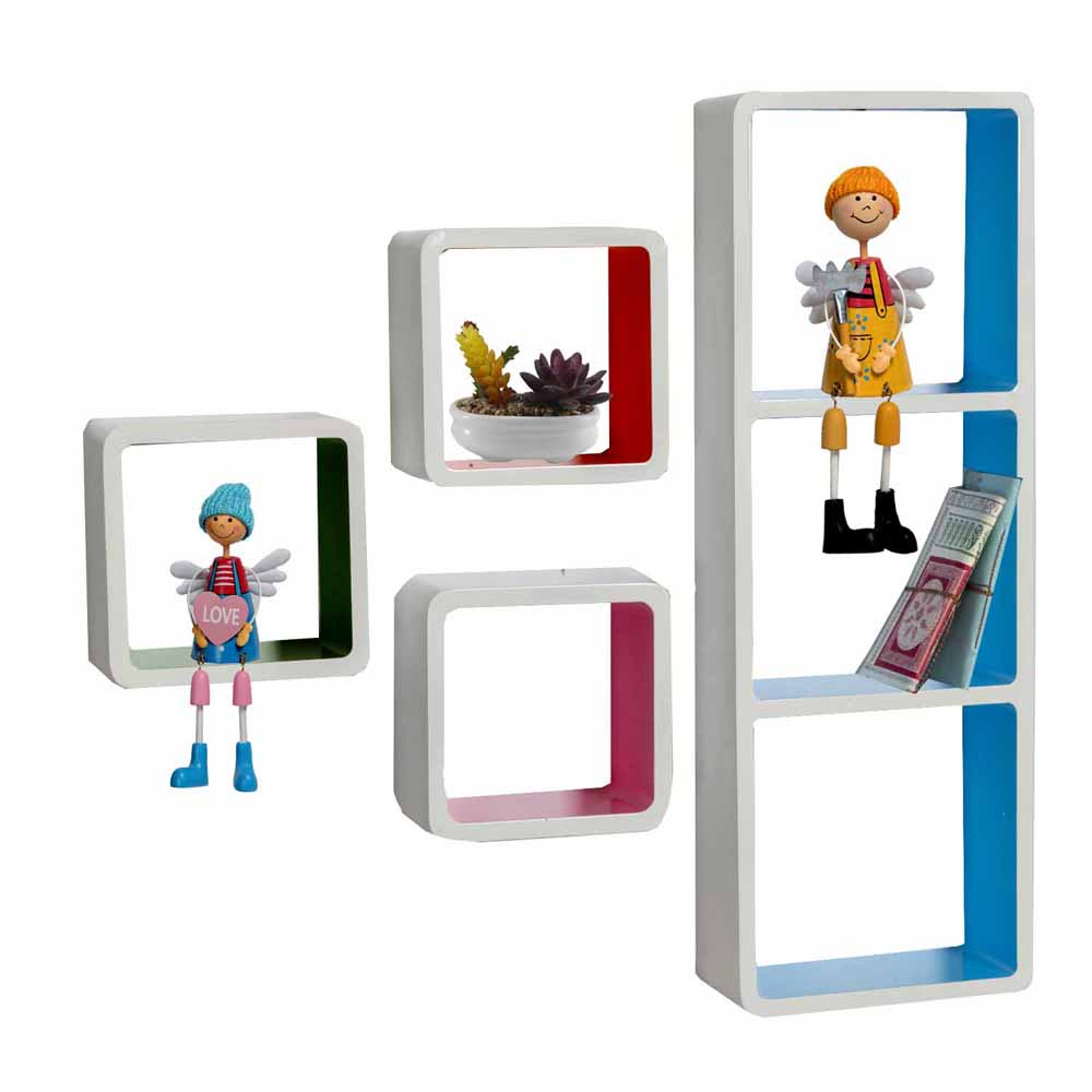 Multicolor Square Box Shape Wall Shelves