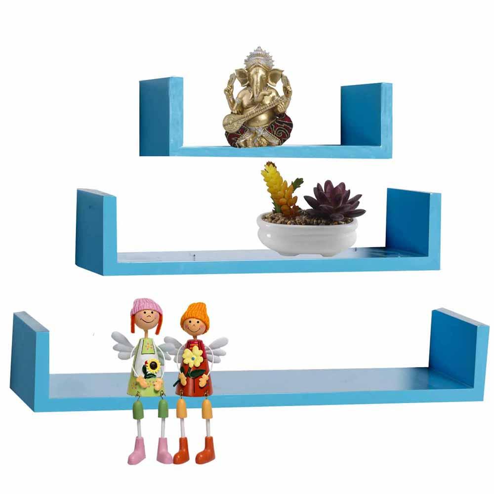 Wall Shelves-Blue Shade Rack Style Wall Shelves