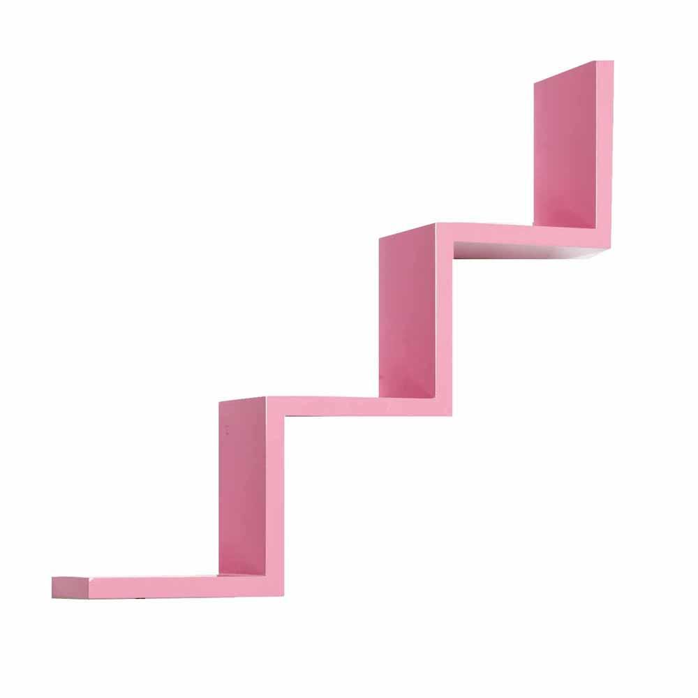 Wall Shelves-Beautiful Step Patterned Pink Wall Shelf