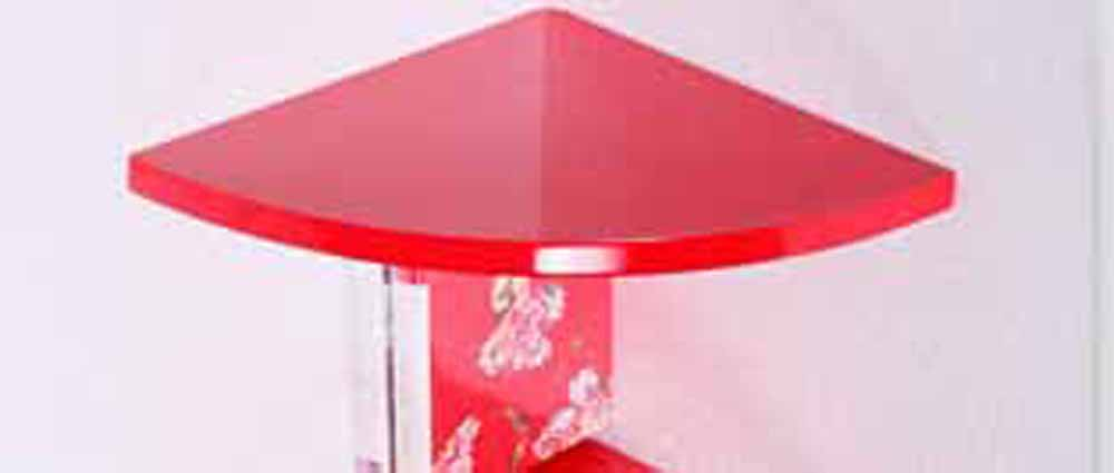 Wall Shelves-Triangular Style Red Corner Wall Shelves
