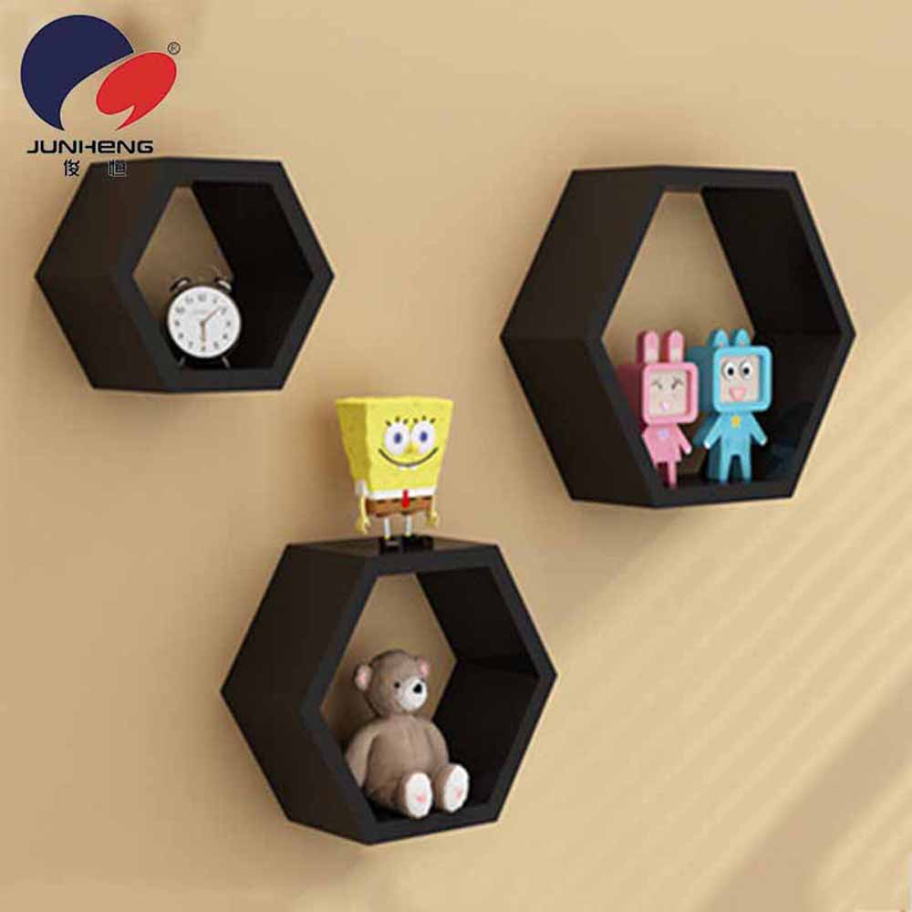 Wall Shelves-Hexagonal Style Brown Wall Shelves