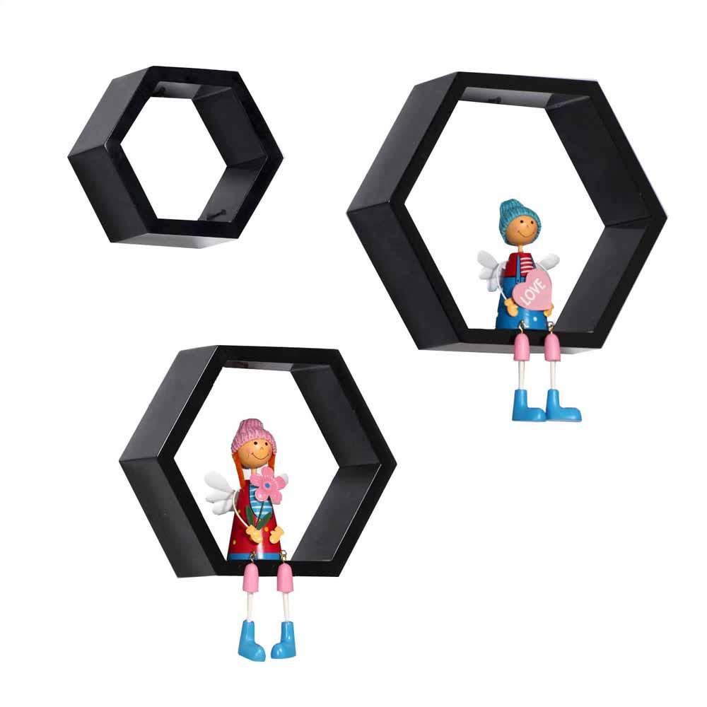 Hexagonal Style Brown Wall Shelves