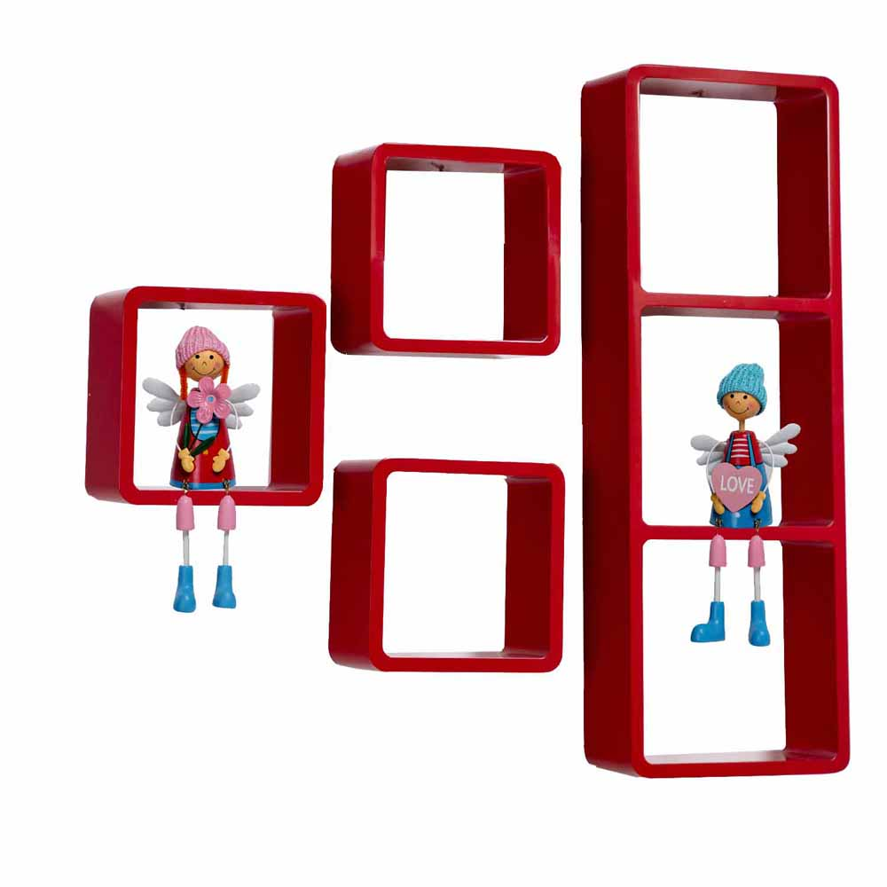 Hot Red Square Shape Wall Shelves