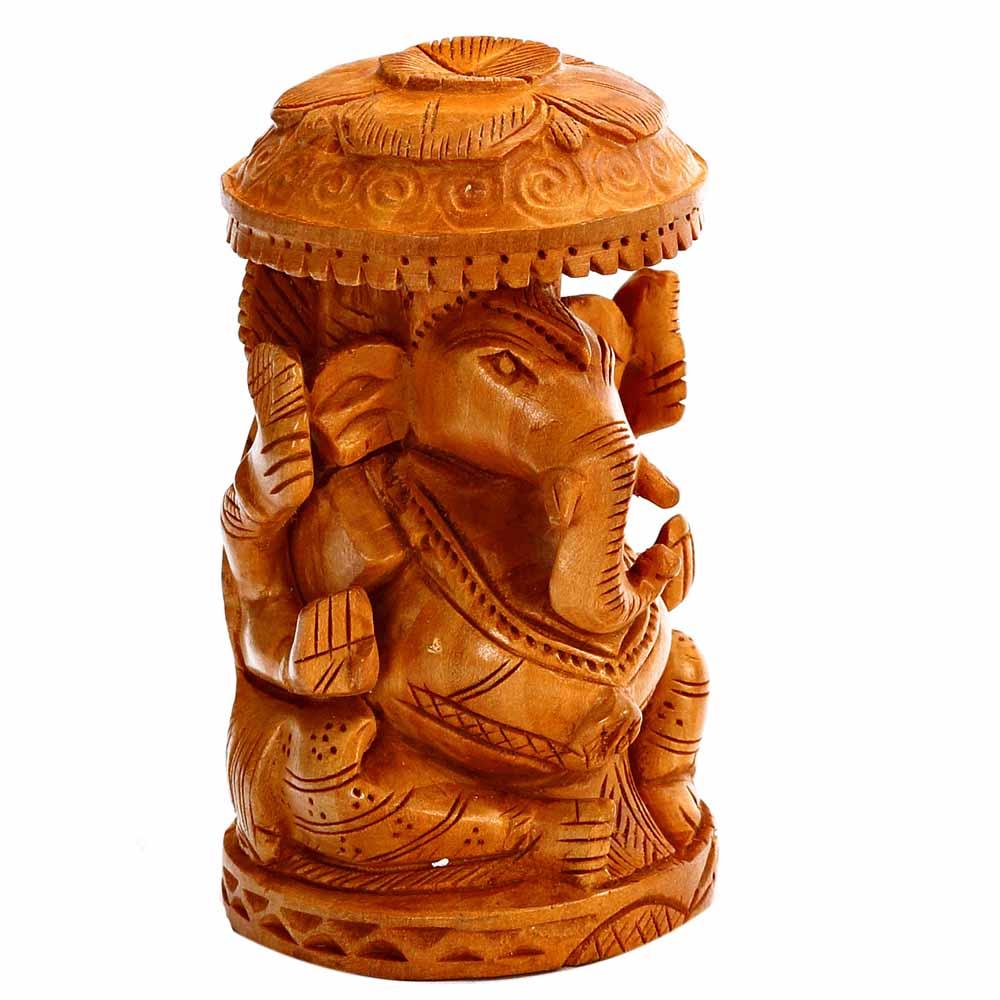 Wooden Idols-Pleasingly Carved Wooden Ganesh Idol