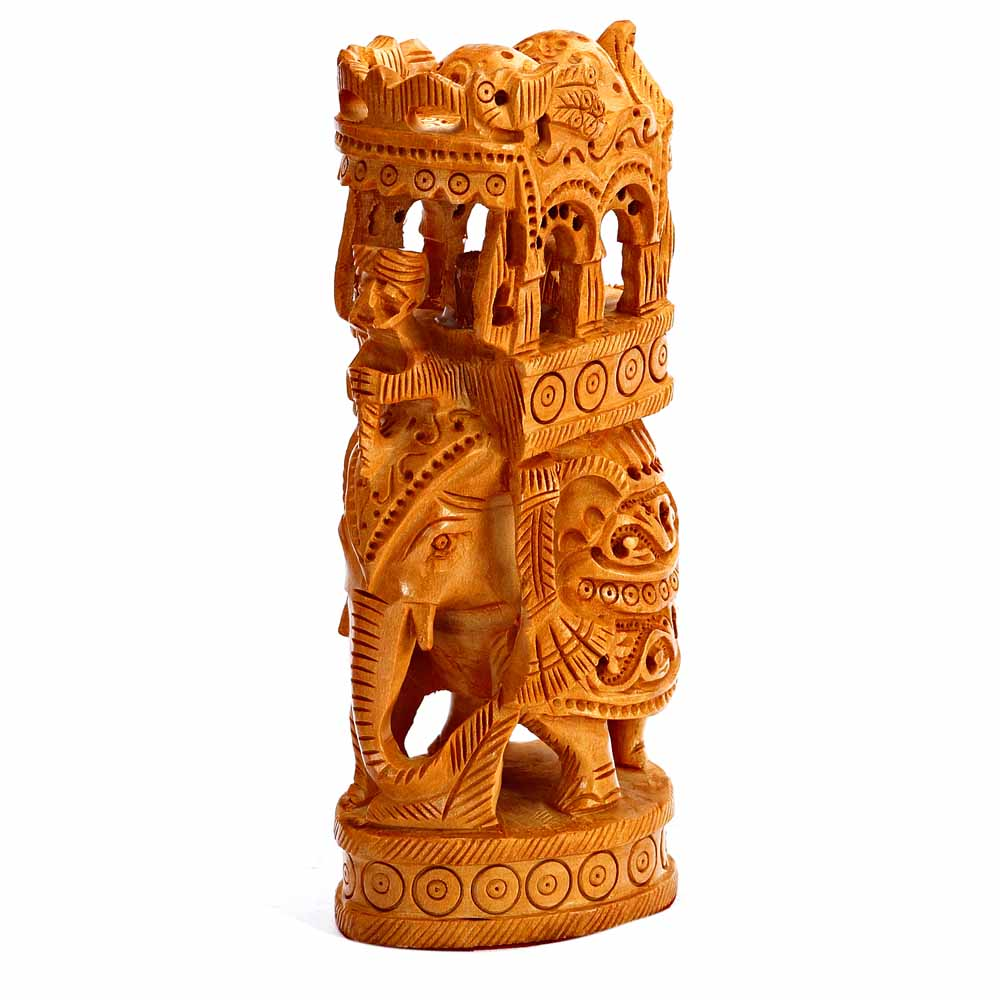 Finely Carved Wooden Ambabari Elephant