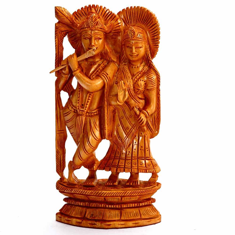Wooden Idols-Hand Carved Wooden Radha Krishna Idol