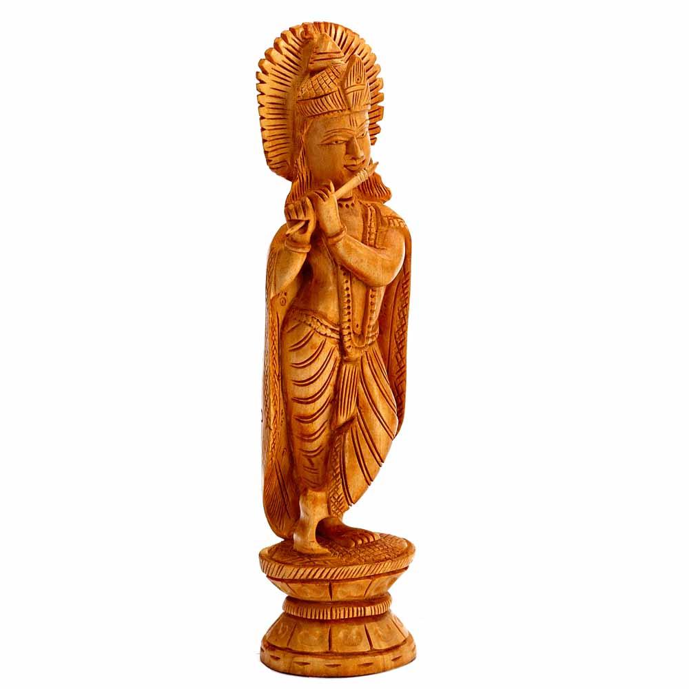 Wooden Idols-Beautifully Carved Wooden Krishna Idol