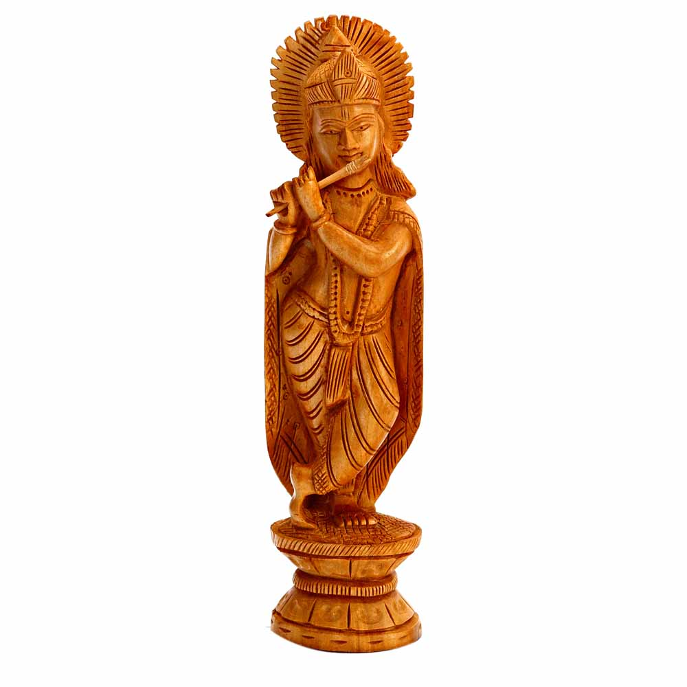 Beautifully Carved Wooden Krishna Idol