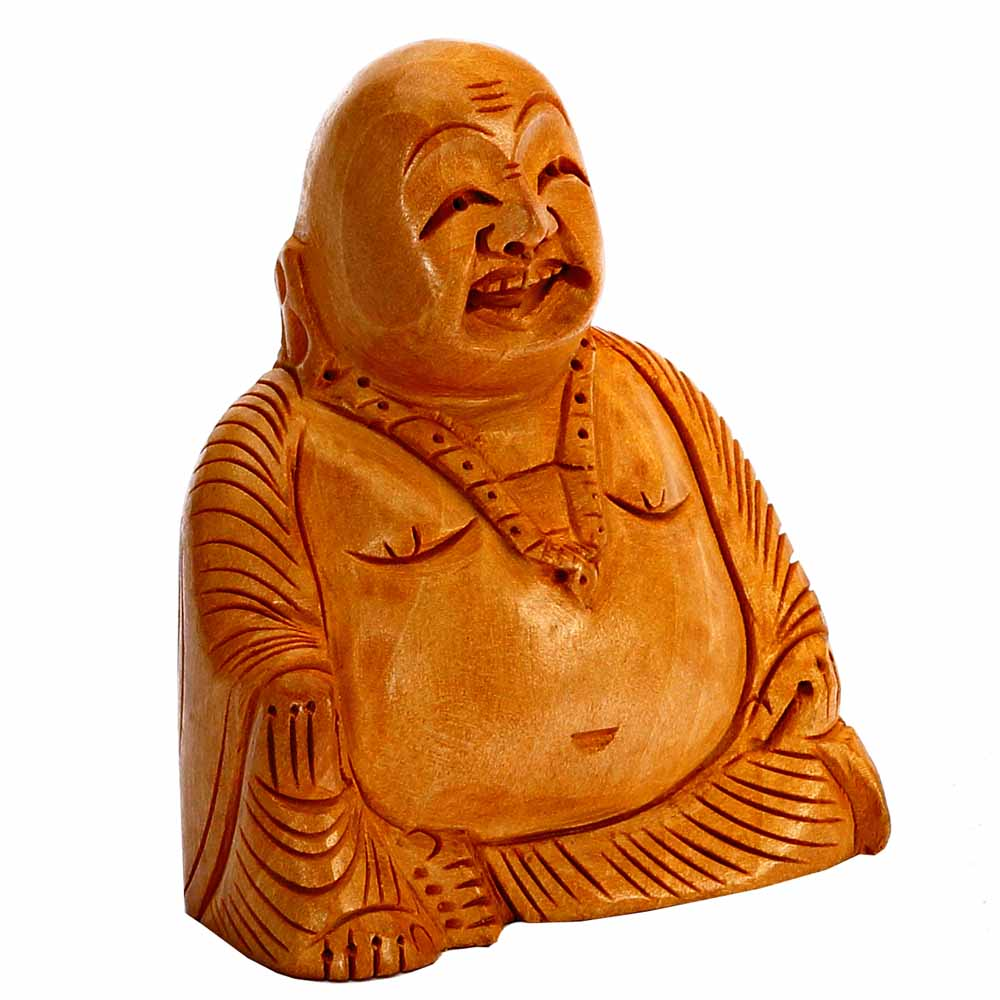 Artifacts-Hand Carved Wooden Happy Laughing Buddha Statue