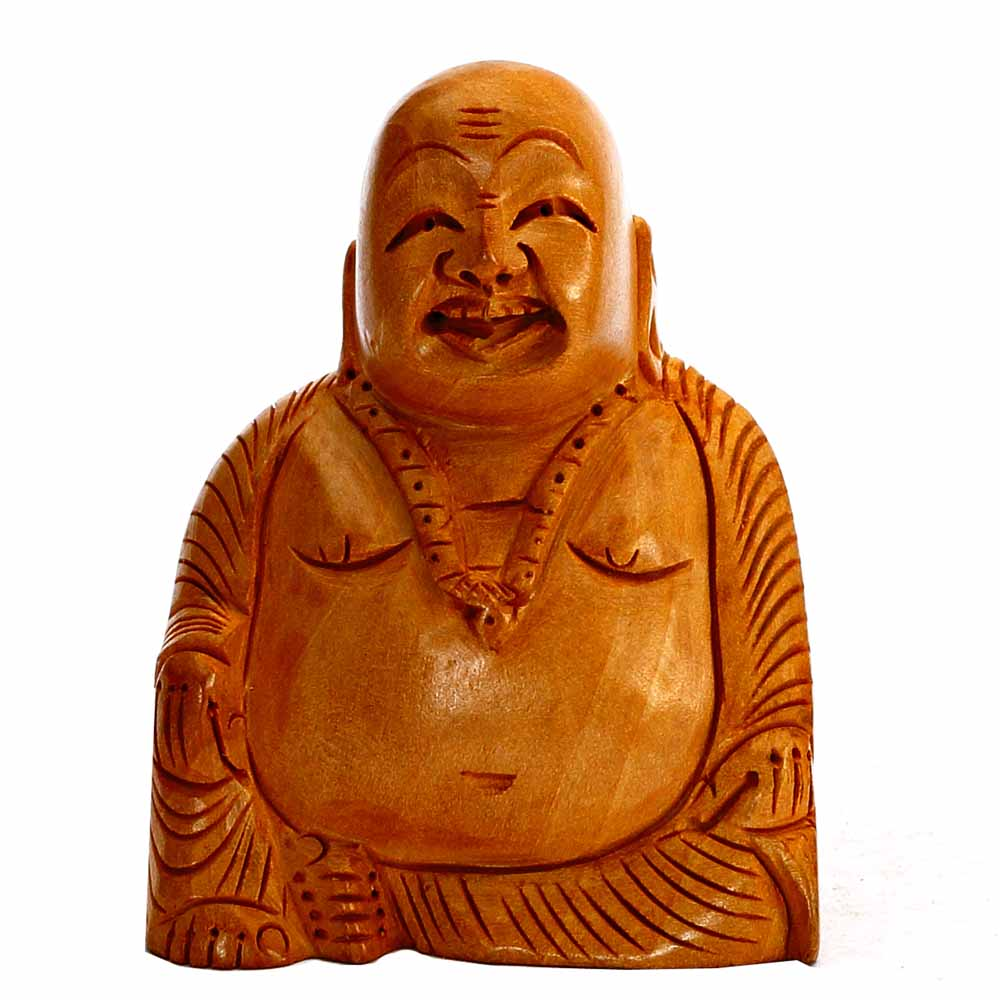 Hand Carved Wooden Happy Laughing Buddha Statue