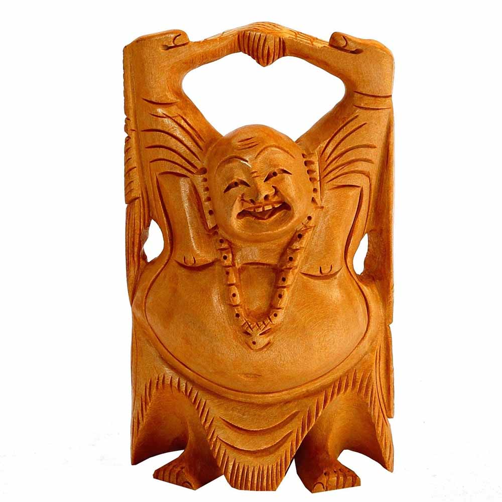 Wooden Laughing Buddha for Riches & Good Luck