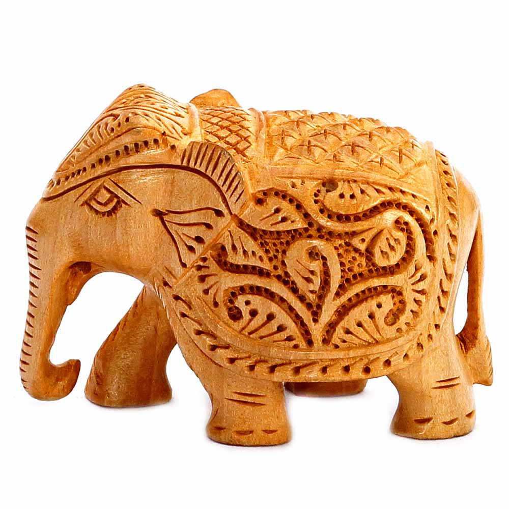 Show Piece-Finely Carved Wooden Elephant Showpiece