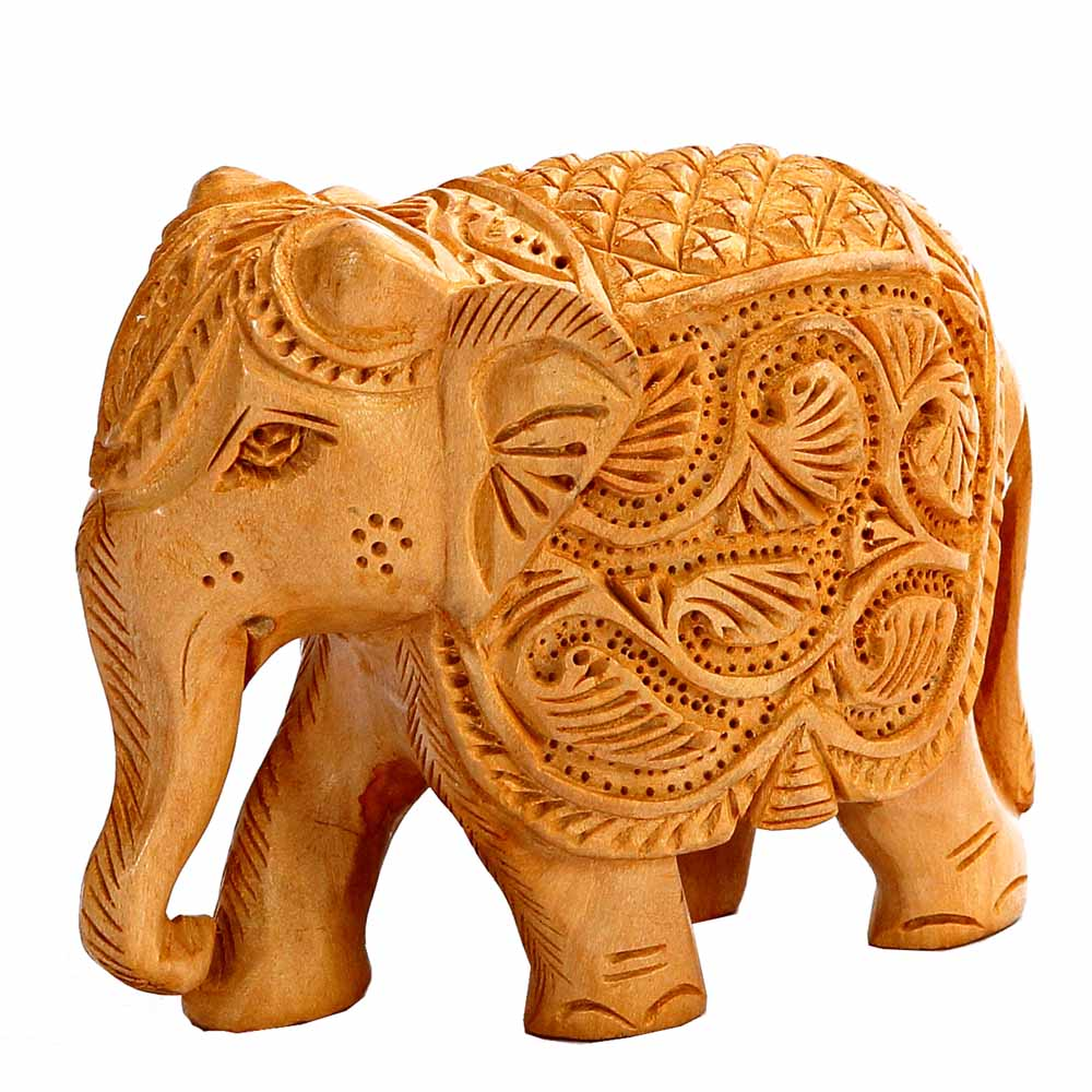 Show Piece-Ornately Carved Wooden Royal Elephant Show Piece