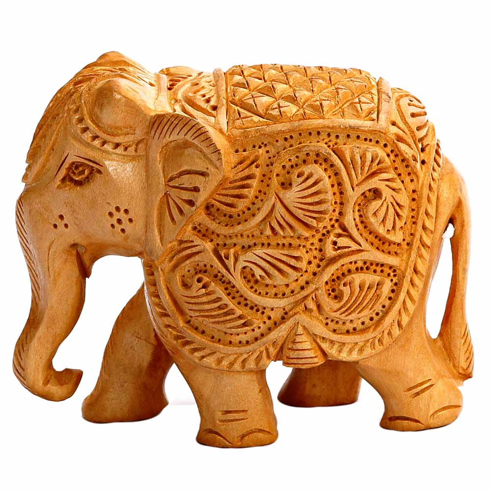 Ornately Carved Wooden Royal Elephant Show Piece