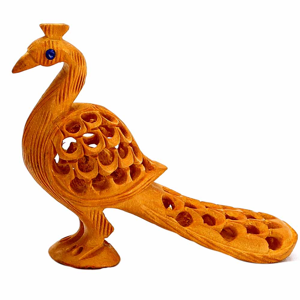 Show Piece-Fantastically Carved Standing Peacock Showpiece