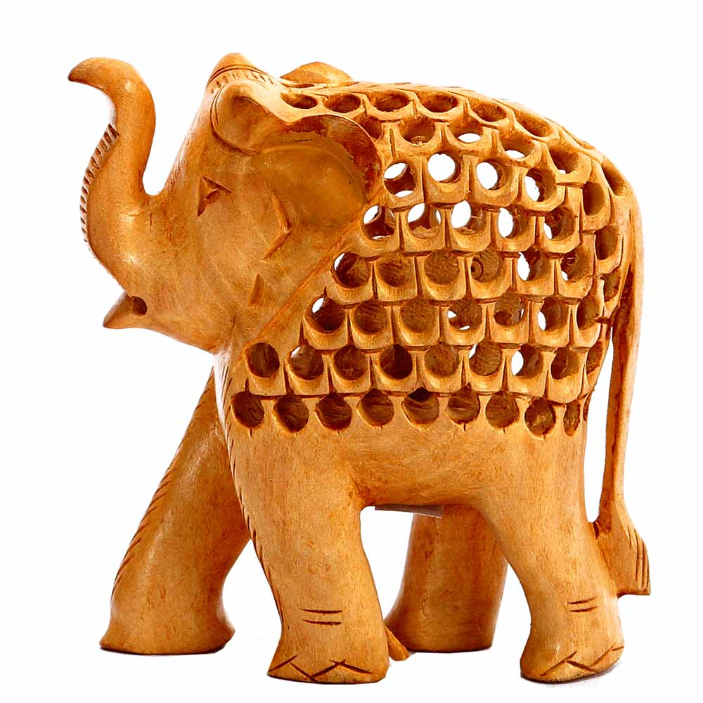 Artifacts-Carved Wooden Elephant with Jaali Pattern