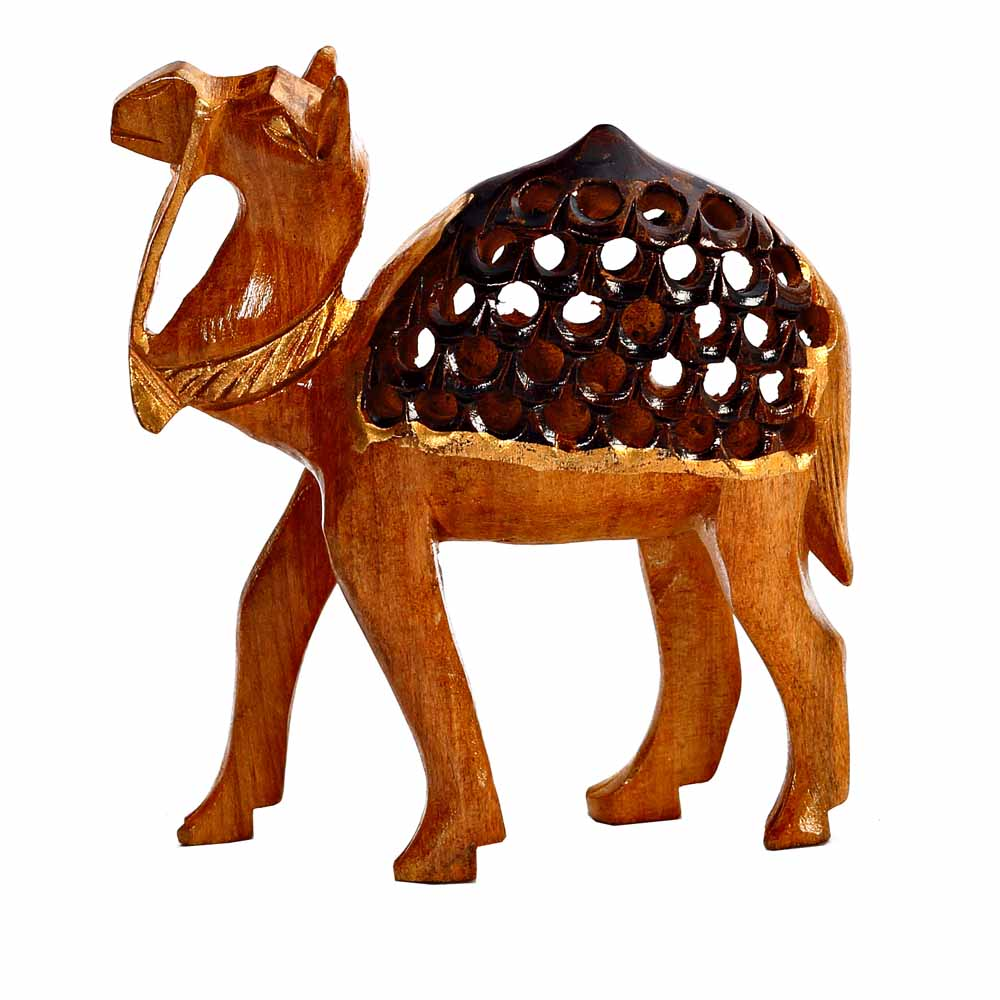 Show Piece-Carved Wooden Camel Showpiece