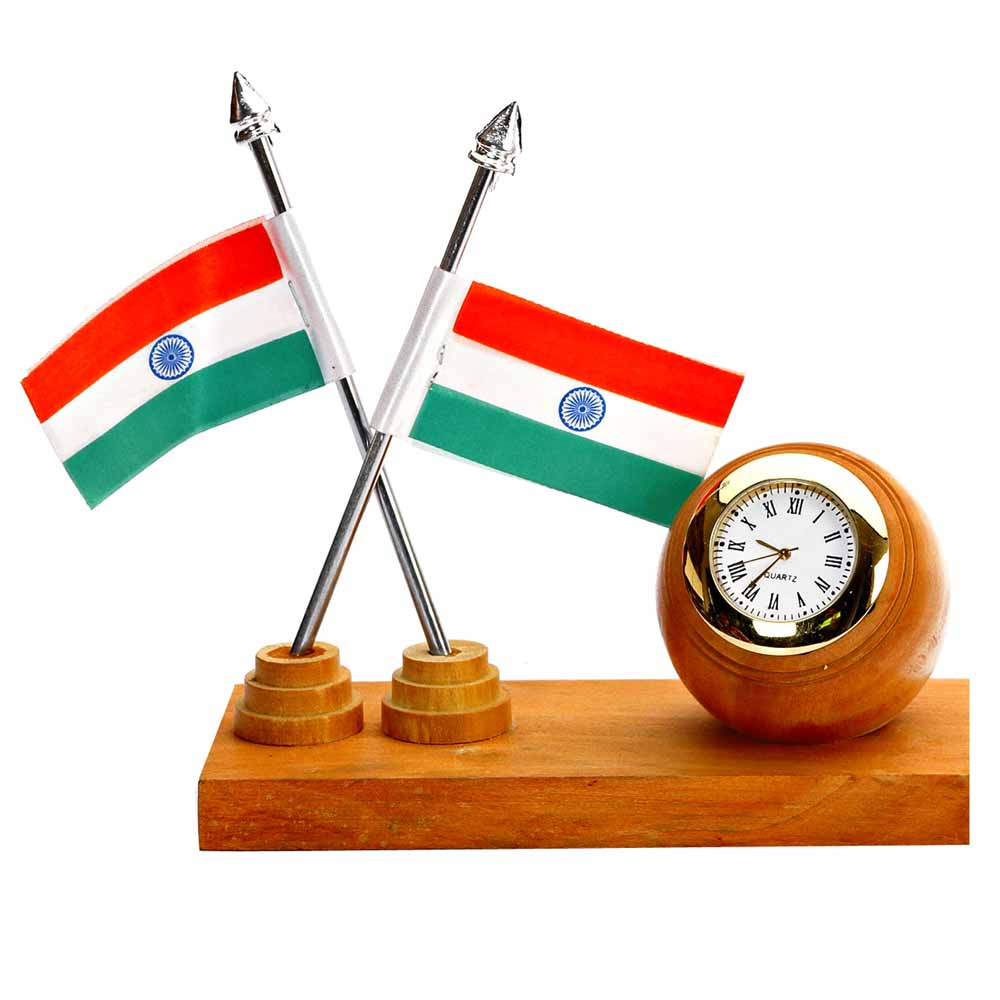 Time Piece and National Flags stand in White wood