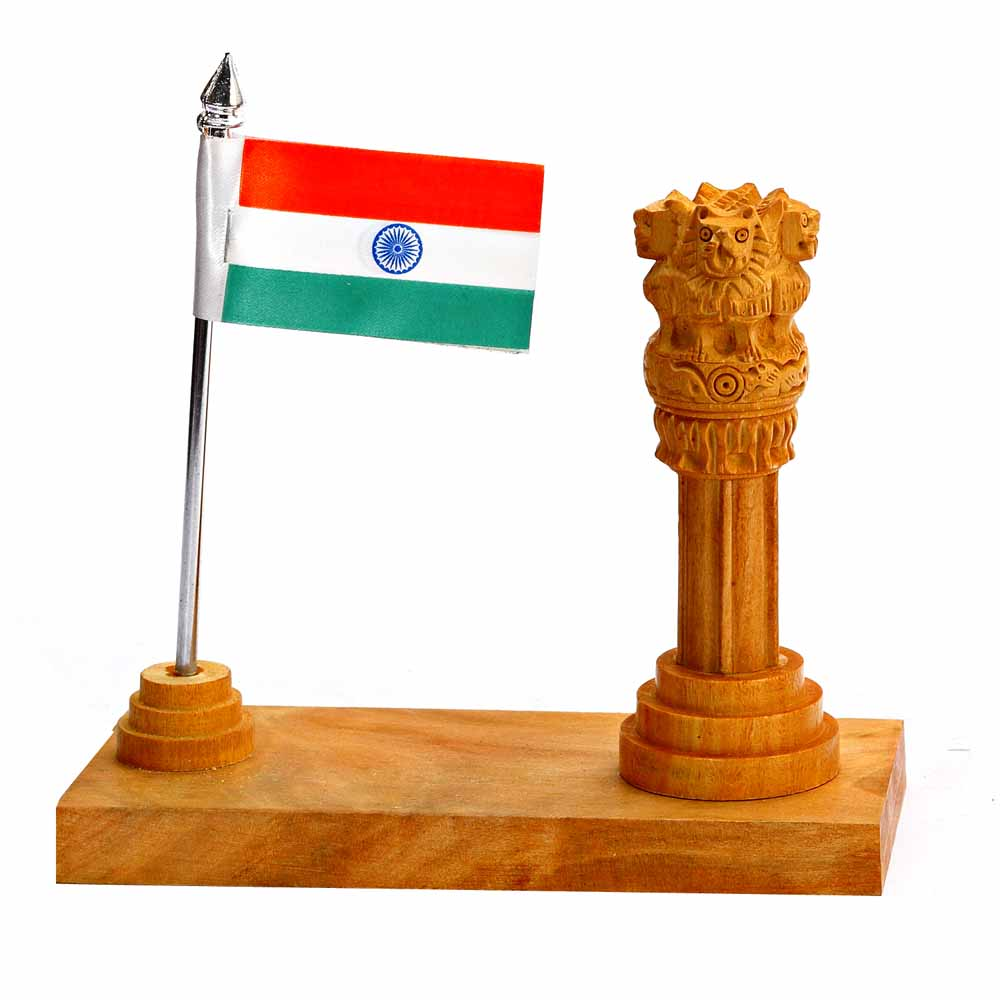 1 Flag & National Emblem stand in Wood
