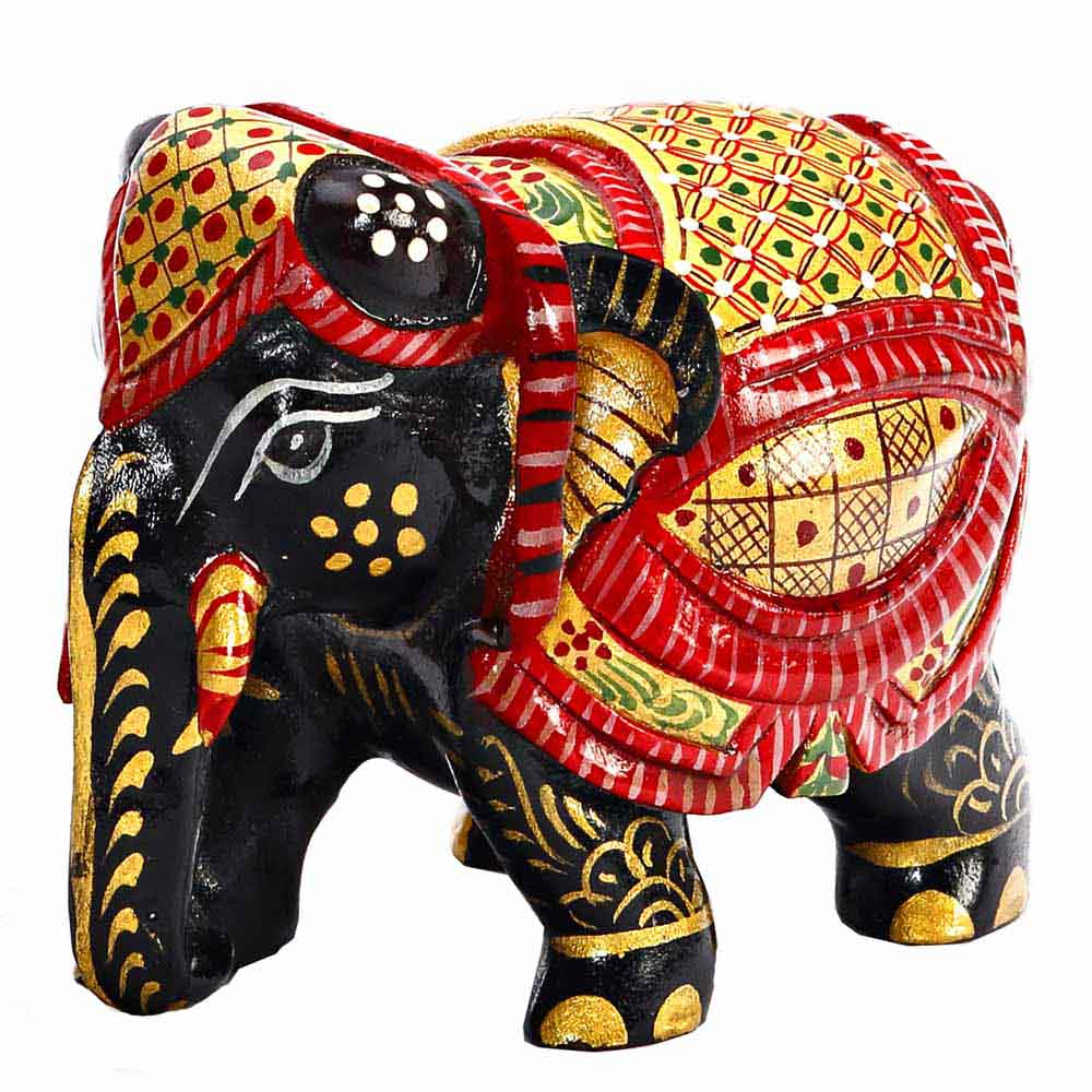 Beautiful Handpainted Wooden Elephant in Black, Red & Golden