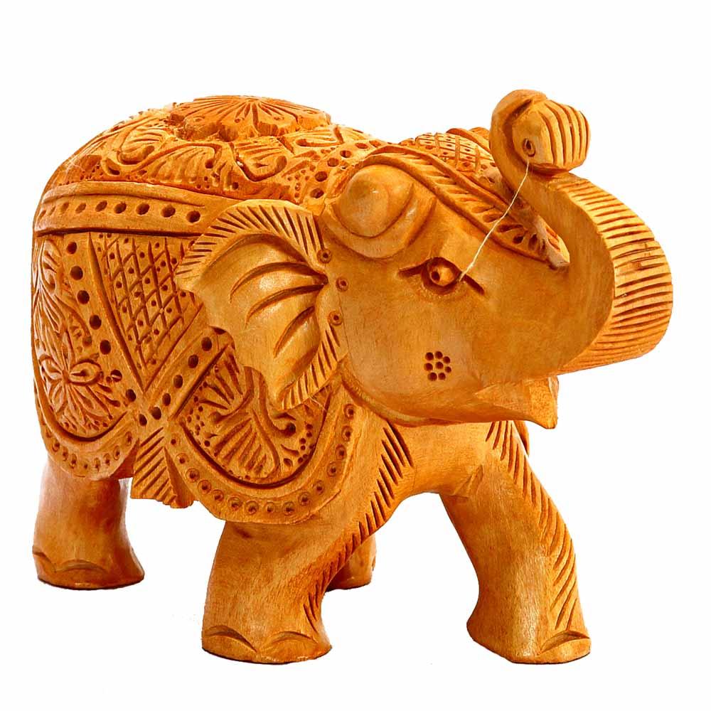 Beautiful Handicrafted Elephant Showpiece in Wood