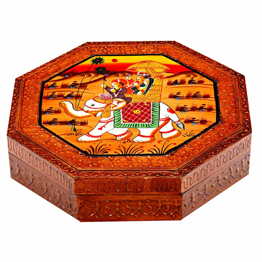 Wooden Handicrafted Multiutility Box with Ambabari Painting