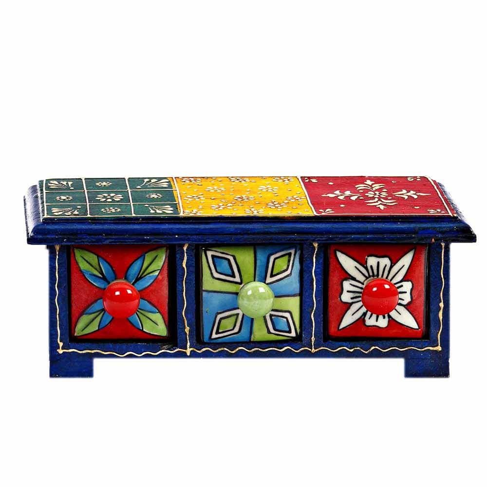Three Drawer Ceramic and Wood Utility Box