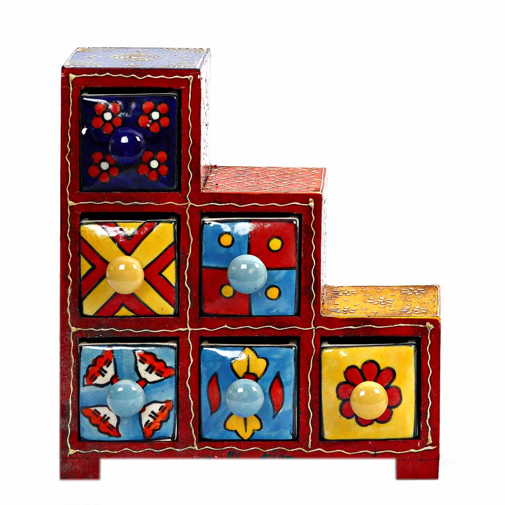 Step Design Six Drawer Ceramic and Wood Utility Box