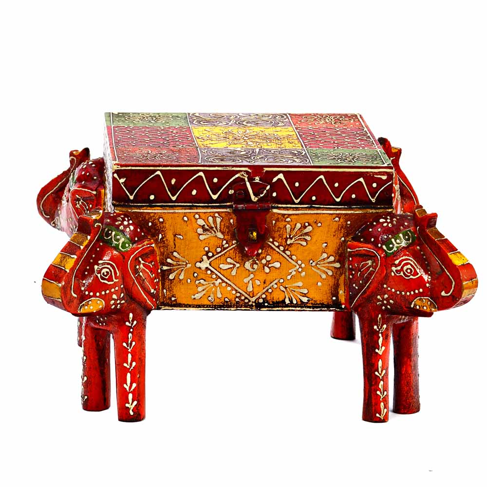 Multiutility Wooden Box with Elephant Face on 4 Corners